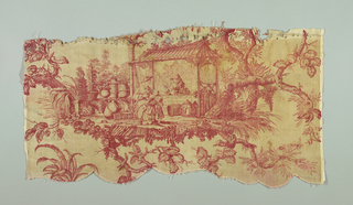 A valance and five fragments of a pattern showing two chinoiserie scenes; the first a woman and children in front of a stall with urns, man leaning on counter; the other a seated couple, the man playing a musical instrument with two children and an adult in the background. In red on white.