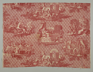 Red print on white ground. Background solidly covered with dome-like motif with diagonal line of hatching, 6 vignettes; 1 - combat between warriors and horsemen; 2 - conference between queen and knight; 3 - parting from sweetheart or wife; 4 - conference near ship and sea; 5 - triumphal entry into city; 6 - group of men in tent in front of a castle.