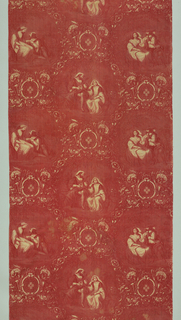 "In red on white foundation. Romantic scenes of three couples in lattice of scrolls and cartouche. If lengths were sewn together side-to-side, design would repeat as a half drop. About 1"" of design on roller is missing."