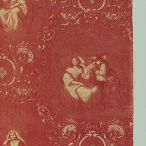 """In red on white foundation. Romantic scenes of three couples in lattice of scrolls and cartouche. If lengths were sewn together side-to-side, design would repeat as a half drop. About 1"""" of design on roller is missing."""