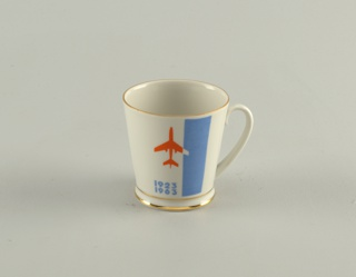 "Cylindrical, loop handle; with image of airplane and ""1923/1963"" on one side, ""Aeroflot"" (in Russian) on other side."