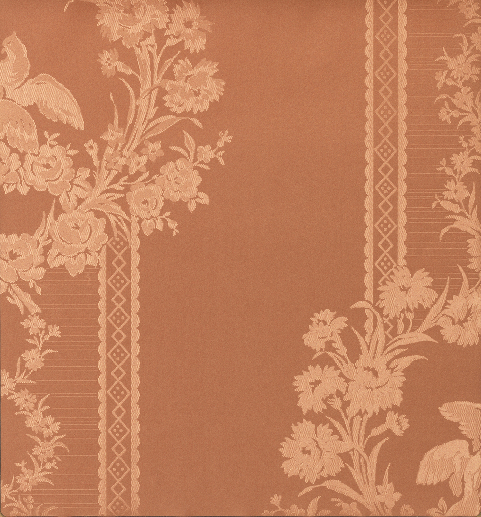 Different patterns of stripes, moires, plaids, floral / foliate designs each shown in multiple colorways. Black and white photographs illustrate the designs in repeat. Silk-damask type paper.