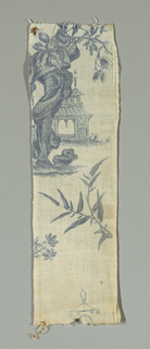 Nine fragments of a chinoiserie design with people, buildings with bells, rocks and bridges. All of the fragments together do not give a full unit of the pattern. In blue on white.