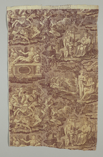 "Panel printed in sepia on natural. Scenes of a medieval battle and the personification of France at peace in the center; two scenes at left, ""L'Ordre du depart"" (Orders to Leave) and ""Le Retour"" (The return) and two at right, ""Le depart"" (The Departure) and ""Le Repos de Guerrier"" (Warrier at Peace) illustrate a narrative. Neither of the two pieces seamed in the middle contains the full repeat."
