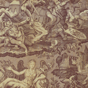 """Panel printed in sepia on natural. Scenes of a medieval battle and the personification of France at peace in the center; two scenes at left, """"L'Ordre du depart"""" (Orders to Leave) and """"Le Retour"""" (The return) and two at right, """"Le depart"""" (The Departure) and """"Le Repos de Guerrier"""" (Warrier at Peace) illustrate a narrative. Neither of the two pieces seamed in the middle contains the full repeat."""