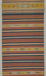 Horizontally-striped plain weave with a single warp of a light violet color and double thread weft with discontinuous weft patterning. The design consists of stripes of varying colors alternating with stripes with geometric designs. Fringes at ends.