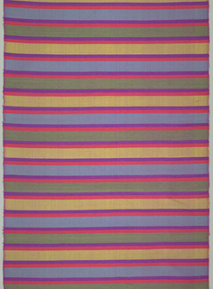 Long panel with polychrome weft bands: the wider ones in green, blue and yellow are separated from each other by double narrow band of orange and purple. Fine warp is dark pink; coarser, nubbly wefts in colors.
