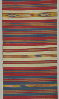 Wide red, white and blue weft stripes with red, white, blue yellow and metallic striped centers. Five intermittent bands of tapestry in blue, pink, yellow and metallic thread.