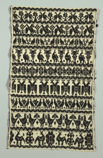 Design of horizontal rows of stylized birds and animals separated by zigzag bands.