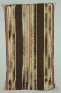 Broad dark brown stripes alternating with groups of cream, tan, yellow, pink, blue, and brown pencil-stripes, with central geometrically decorated stripes in same colors, warp-patterned. Narrow bright blue selvages continuous with field. Double loom cord, top and bottom.