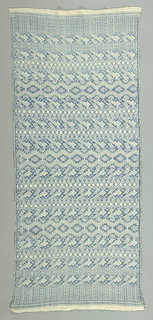 Rectangular length with an allover pattern of stylized birds in blue and white.