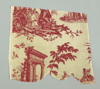 Two fragments which contain part of the block printed chef for Favre Petitpierre.