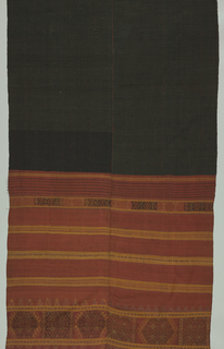 Two breadths of cotton joined in center. Black center area showing a fine red stripe running through. On either side is a wide border woven in yellow, black, and gold in a geometric (patola-inspired) design.