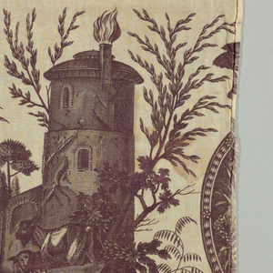 Design in purple/brown on white of the goddess Diana and a building with lambs.