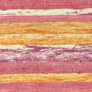 Warp of white cotton; weft of heavy, fuzzy cotton yarn irregularly dyed so as to give a vague, patchy striped effect in bright shades of pink, orange, and magenta.