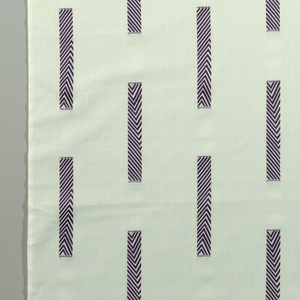 """White fabric with intermittent navy blue """"columns."""""""