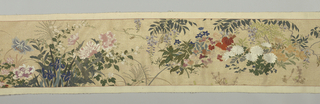 Horizontal panel of slit tapestry. Cotton warp with weft of polychrome silks, and gold metallic thread. Design of realistically worked flowers – chrysanthemums, wisteria, lilies, peonies, etc.