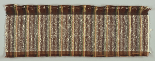 Firm coarse cloth with wool warps in uneven stripes of gold, tan, green, and dark brown, with heavy white cotton boucle wefts.