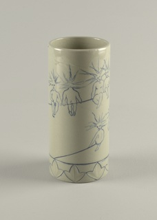 Straight-sided cylindrical vase with flat foot and lip.  Around base a 1 1/8 inch band of incised trilobe leaves, outlined in blue.  Around vase, incised line spiraling upward to lip, upon which are seated nine stylized children in  various postures, each with hair standing on end.  All figures with incised outlines filled with cobalt blue.  Vase glazed overall (interior and exterior) in grey-green color with fine crackle.
