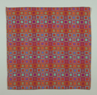Sample of woven wool with an all-over pattern of tangent framed squares. Predominantly red with purples, blue, blue-green and orange; a variety of tones is achieved by interlacing different colored warps and wefts.