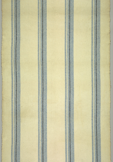 White nubby ground with broad bands of delft blue pencil-striped with black and white.