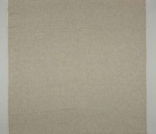 Plain weave with short intervals of two warps and wefts in a longer span of plain weave, tan and off-white warps with tan and black wefts.