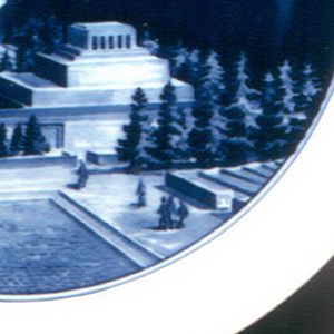 Circular, painted in blue underglaze with scene of Red Square, Moscow, showing Lenin's Tomb, St. Basil's, and wall tower