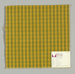 Plain weave warp-faced gingham pattern in gold and yellow-green.