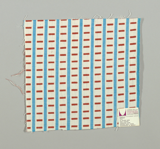 White and turquoise vertical stripes with red rectangles. Rectangular patterning is formed by supplementary warp floats.