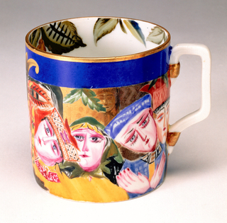 Cylindrical body with square section handle; painted around the sides a large stylized red face opposite handle, with row of smaller women's faces to one side, row of mostly men's faces to other; leaves painted along top inside edge of lip.
