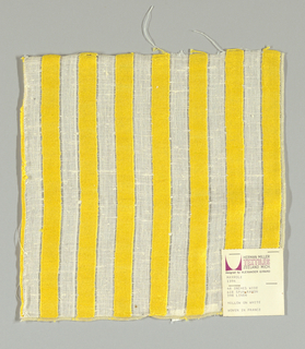 "White plain weave with 3/4"" inch vertical stripes in yellow. Striped pattern is formed by discontinuous supplementary weft floats."