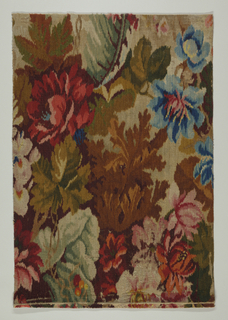 """Rectangle of """"Tapestry Brussels"""" carpeting with large flowers and leaves in deep rich colors in blurred impressionistic style."""