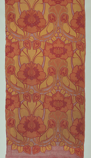 Design of waterlillies arranged in vertical rows in yelow and red. Design can be read from bottom to top or top to bottom.