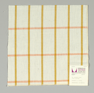 Plain-woven windowpane plaid of gold and orange stripes on a white ground.