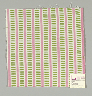 White and pink vertical stripes with light green rectangles. Rectangular patterning is formed by supplementary warp floats.