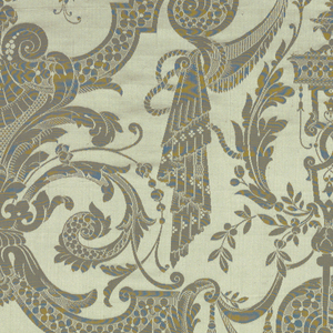 Large allover design with central floral motif in grey silk. Reproduction textile in the style of the early eighteenth century.