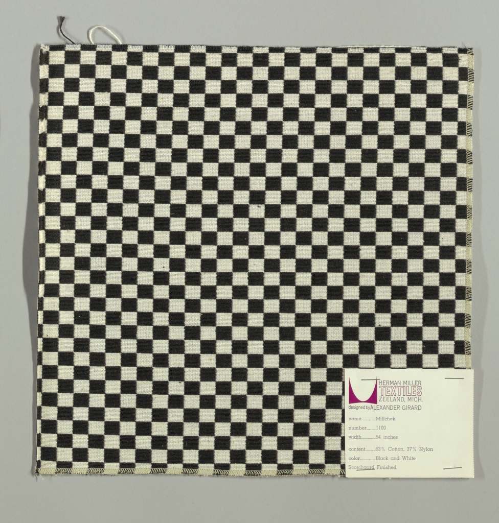 Double cloth in a black and white checkerboard pattern. The warp and weft threads are black and white and intersect to form solid areas of color.