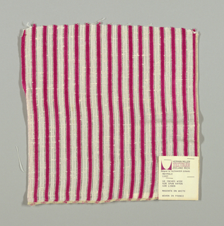 "White plain weave with 1/4"" inch vertical stripes in magenta. Striped pattern is formed by discontinuous supplementary weft floats."