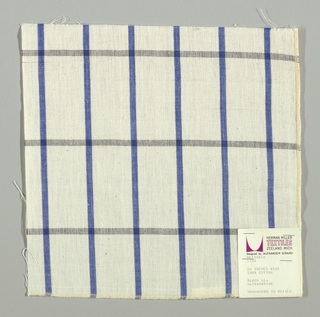 Plain-woven windowpane plaid of blue and black stripes on a white ground.