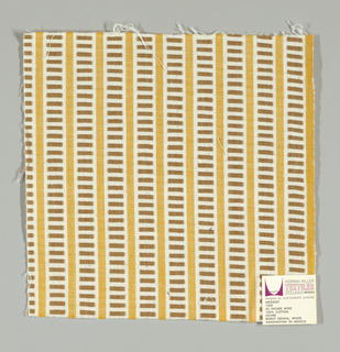 White and gold vertical stripes with light brown rectangles. Rectangular patterning is formed by supplementary warp floats.