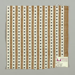 Light brown and white vertical stripes with black squares. Square patterning is formed by supplementary warp floats.