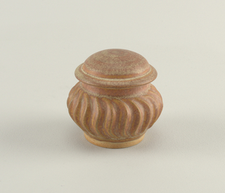 Round body with central swelling strigilated band. Low domed cover. Grey and terra cotta matte glaze. incised in script on bottom: Deiohman.