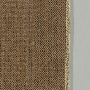 Plain weave with a tan and black warp and tan weft. Warp is comprised of fine lightweight threads while the weft is a coarsely woven heavier yarn. The two colors of the warp produce a subtle vertical stripe effect. Number 1501.