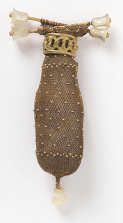 Crocheted miser's purse in dark brown silk with small gold colored beads. Two bars at the top with bell-shaped mother-of-pearl ends. Gold ring with open-work design to open and close. Bell-shaped mother-of-pearl drop at the bottom.