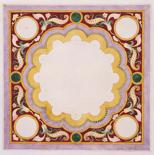Design for square panel with circular field with concentric scalloped borders in yellow, lavender, and green and yellow stripes.  Space outside of central field occupied by floral motif on red ground. Four white circles with yellow borders at four corners of panel.
