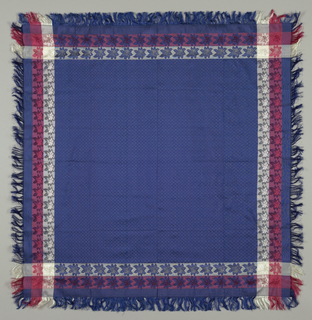 Woman's kerchief with a dark blue center has an allover diaper pattern of stars and rosettes in short loose warp floats, weft on the reverse. Four side borders in white and red.