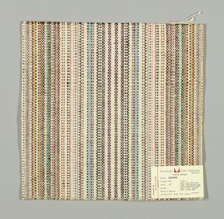 Plain in thin vertical stripes of black, light blue, white, brown, tan, pink, light orange, light green, and violet.