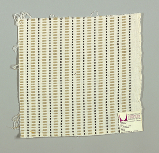 White plain weave with beige rectangles and black squares. Rectangular and square patterning is formed by supplementary warp floats.