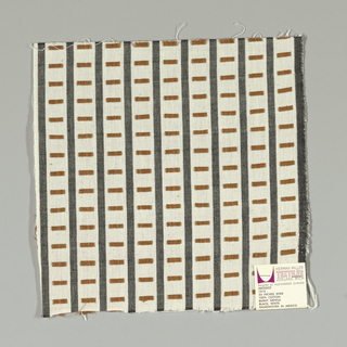 Black and white vertical stripes with brown rectangles. Rectangular patterning is formed by supplementary warp floats.