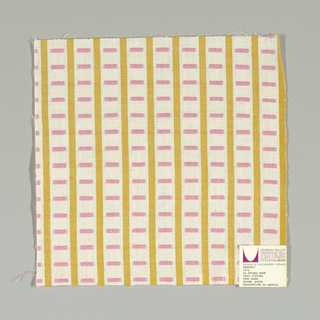 White and gold vertical stripes with pink rectangles. Rectangular patterning is formed by supplementary warp floats.
